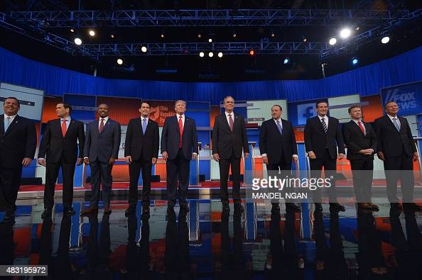The top 10 Republican presidential hopefuls arrive on stage for the start of the prime time Republican presidential primary debate on August 6 2015...