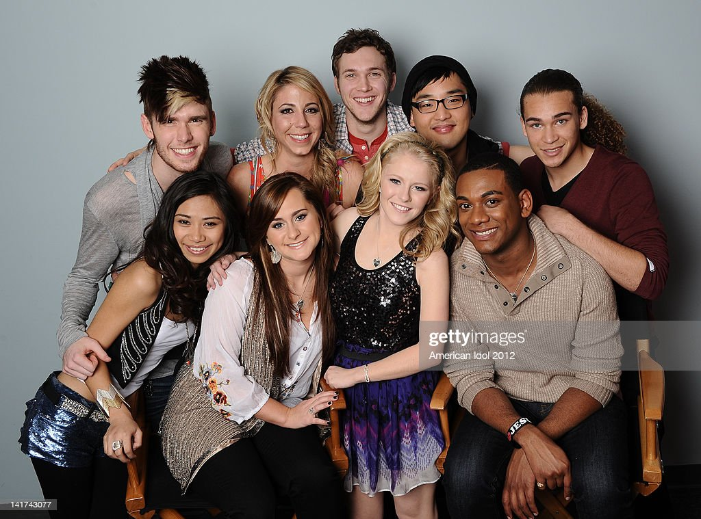 The top 9 contestants Colton Dixon, Elise Testone, Phillip Phillips, Heejun Han, DeAndre Brackensick, Joshua Ledet, Hollie Cavanagh, Skylar Laine and Jessica Sanchez backstage at FOX's 'American Idol' Season 11 Top 10 To 9 Live Elimination Show on March 22, 2012 in Hollywood, California.