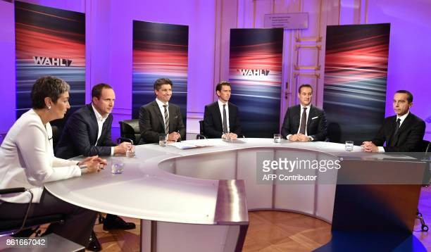 The top candidates of the Austrian Greens Party Ulrike Lunacek and of the NEOS party Matthias Strolz ORF TV host Hans Buerger Austria's Foreign...