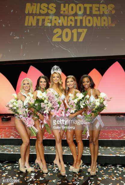 The top five finalists third runnerup Rachel Swartz of Chantilly Virginia first runnerup Amberly Hall of Fort Lauderdale Florida Miss Hooters...