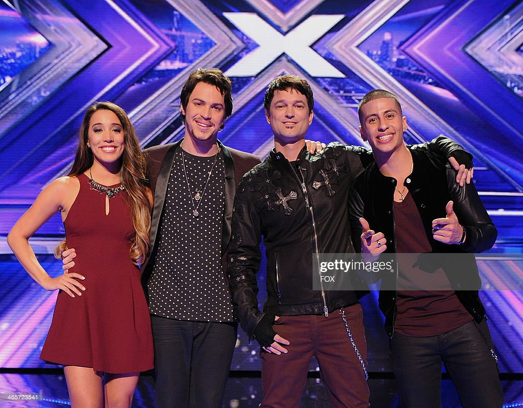 The top four finalists Alex & Sierra, Jeff Gutt and Carlito Olivero on FOX's 'The X Factor' Season 3 Top 4 To 3 Live Elimination Show on December 12, 2013 in Hollywood, California.