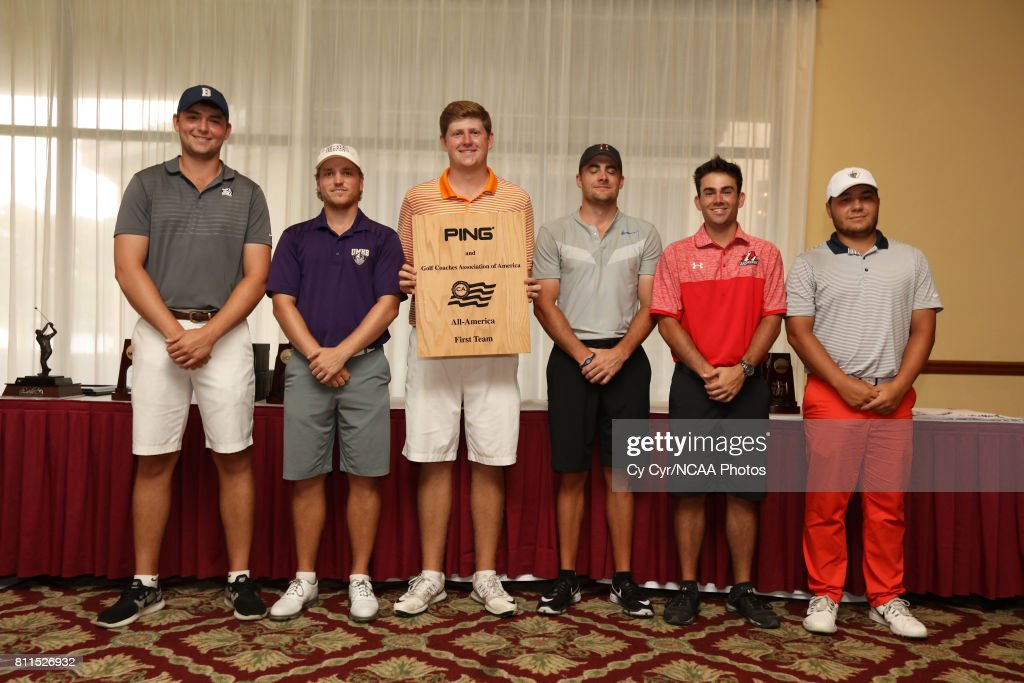 The top golfers are awarded following the Division III Men's Golf Championship held at the Mission Inn Resort and Club on May 19, 2017 in Howey In The Hills, Florida. Gibson won the individual title with a -1 score.