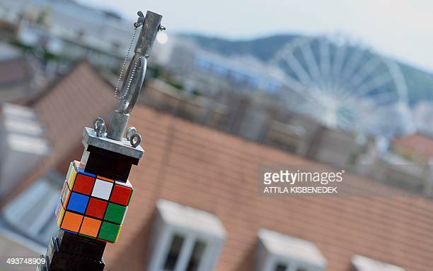 The top of a 3476 meter high tower of Lego plastic bricks is seen in front of the St Stephen's Basilica in Budapest on May 25 2014 The tower was...
