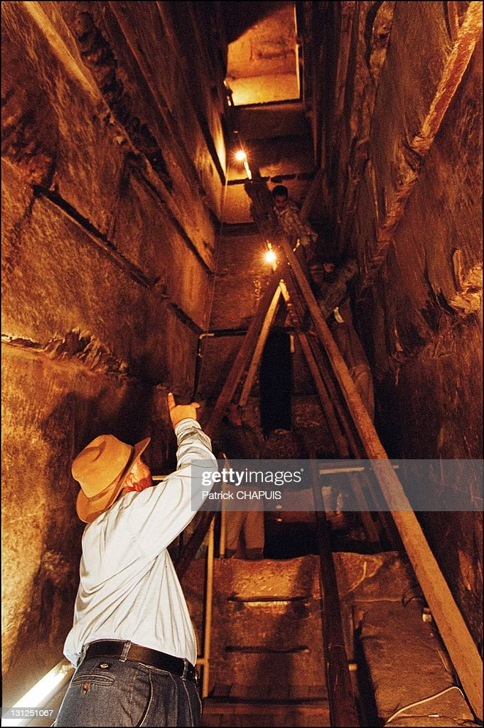 The top of the Great Gallery in the pyramid of Kheops. Dr. Zahi Hawass of a ventilation duct coming out of the Queen's Chamber, in Giza, Egypt in 2005.