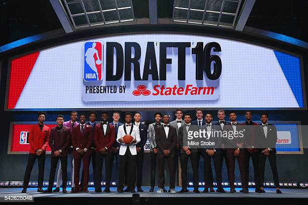 The top prospects pose for a photo before the start of the first round of the 2016 NBA Draft at the Barclays Center on June 23 2016 in the Brooklyn...