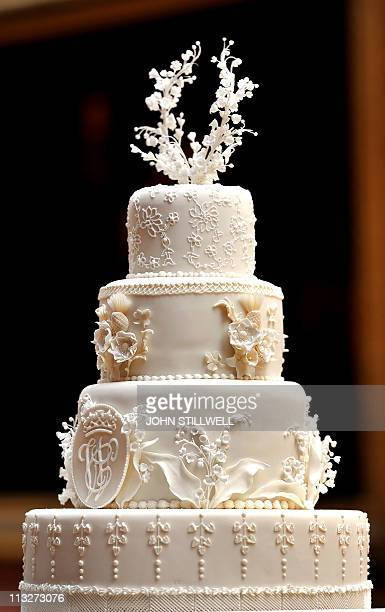 The top section of the eight tiered wedding cake made by Fiona Cairns and her team awaits the newly weds Prince William and Kate Middleton in the...