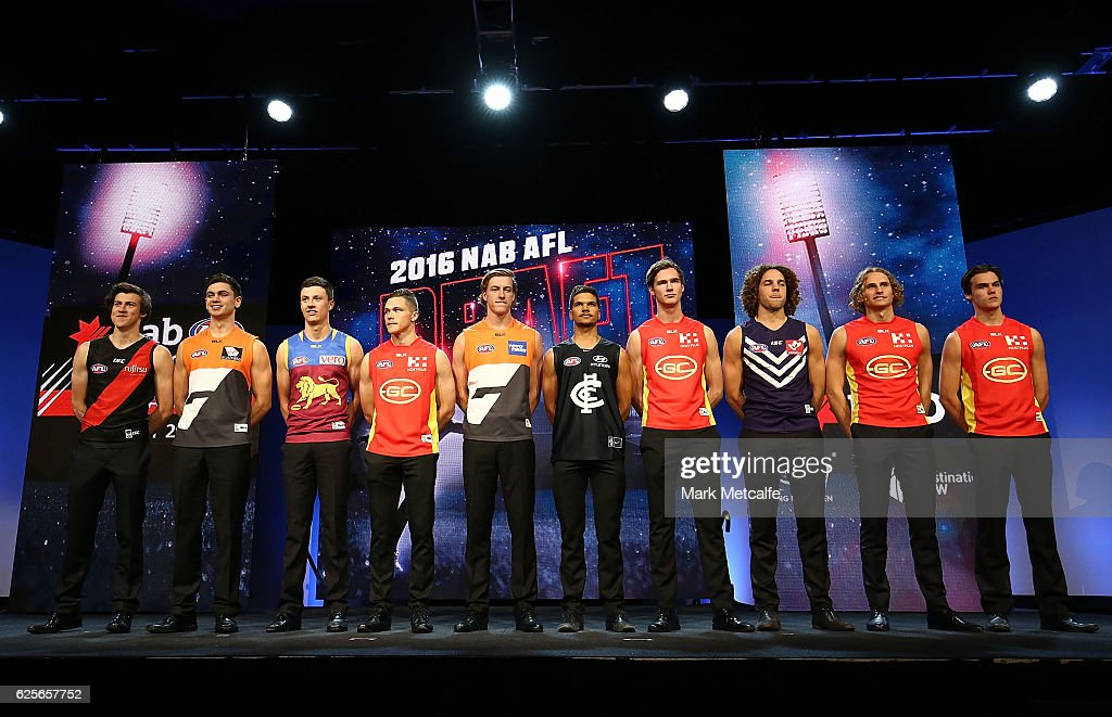 The top ten draft pics pose for a photo during the 2016 AFL Draft at Hordern Pavilion on November 25, 2016 in Sydney, Australia.