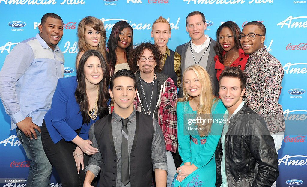 The Top Ten finalists Curtis Finch Jr., Angie Miller, Candice Glover, Devin Velez, FOX Cheif Operating Officer Joe Earley, Amber Holcomb and Burnell Taylor, (Bottom Row L-R) Kree Harrison, Lazaro Arbos, FOX President of Alternative Programming Mike Darnell, Janelle Arthur and Paul Jolley attend the season 12 'American Idol' Finalist Party at The Grove on March 7, 2013 in Los Angeles, CA.