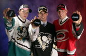 The top three draft picks Bobby Ryan of the Mighty Ducks of Anaheim Sidney Crosby of the Pittsburgh Penguins and Jack Johnson of the Carolina...