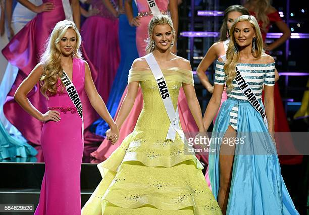 The top three finalists Miss North Carolina Teen USA 2016 Emily Wakeman Miss Texas Teen USA 2016 Karlie Hay and Miss South Carolina Teen USA 2016...