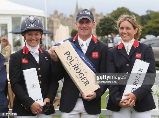 The top three Gemma Tattersall of Great Britain Oliver Townend of Great Britain and Piggy French of Great Britain during Day Four of The Land Rover...