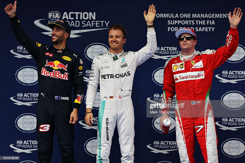 The top three qualifiers Nico Rosberg of Germany and Mercedes GP Daniel Ricciardo of Australia and Red Bull Racing and Kimi Raikkonen of Finland and...