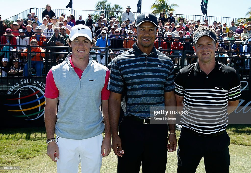 The top three ranked players in golf, (L-R) Rory McIlroy of Northern Ireland, Tiger Woods and Luke Donald of England pose on the tenth tee during the first round of the WGC-Cadillac Championship at the Trump Doral Golf Resort & Spa in Miami, Florida.