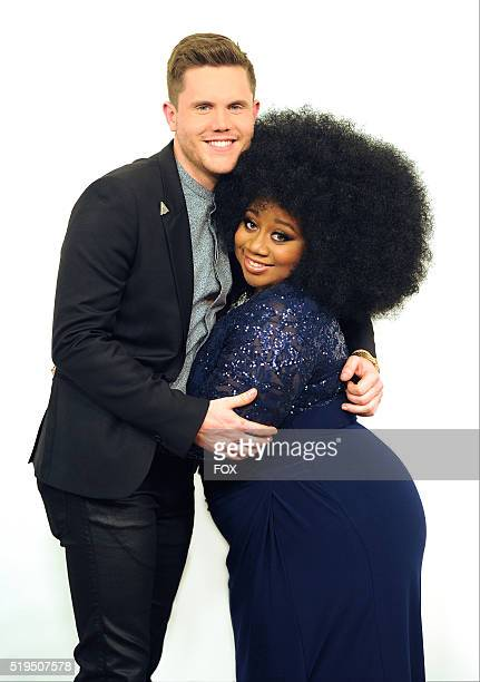 The top two contestants Trent Harmon and La' Porsha Renae pose at FOX's American Idol Season 15 on April 6 2016 at the Dolby Theatre in Hollywood...