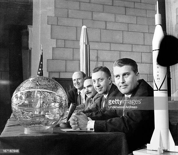 The top US scientists working on the launch of the first American satellite into space Washington DC February 1 1958 From left William Pickering...