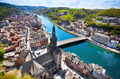 The top view of Pont Charles de Gaulle bridge over Meuse river in Dinant, Belgium