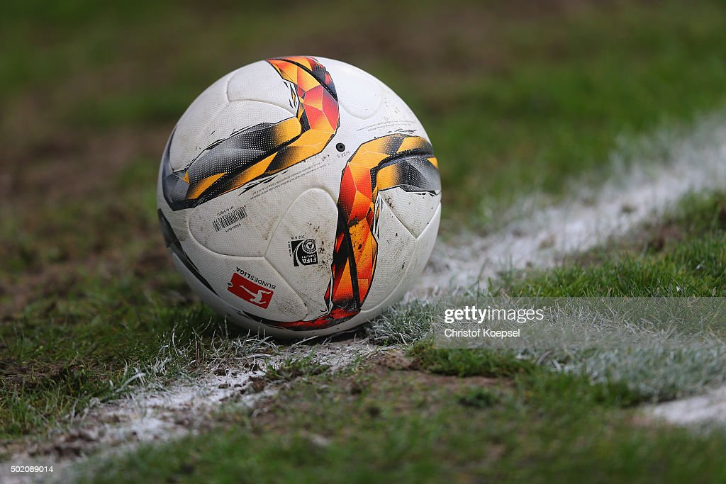 The Torfabrik football is seen during the Second Bundesliga match between MSV Duisburg and VfL Bochum at SchauinslandReisenArena on December 20 2015...