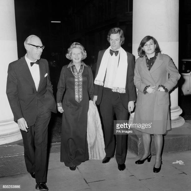 The Tories leader Margaret Thatcher at the Haymarket Theatre with her husband Dennis and their 21 year old twins Mark and Carol Jane