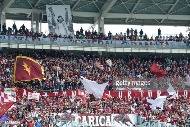 The Torino fans show their support during the Serie A match between Torino FC and Juventus at Stadio Olimpico di Torino on September 29 in Turin Italy