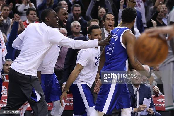 TORONTO ON JANUARY 10 The Toronto bench celebrates after Toronto Raptors guard DeMar DeRozan hits a shot as the Toronto Raptors wearing their throw...