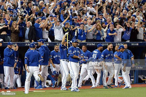 The Toronto Blue Jays bench reacts during Game 5 of the ALDS against the Texas Rangers at the Rogers Centre on Wednesday October 14 2015 in Toronto...