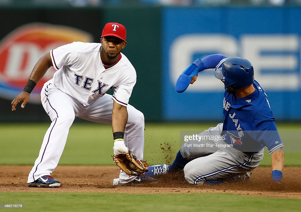 The Toronto Blue Jays' Kevin Pillar right steals second ahead of the tag by Texas Rangers shortstop Elvis Andrus during the second inning on Tuesday...