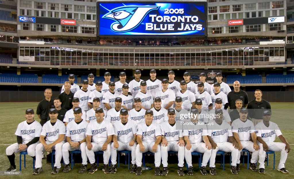 The Toronto Blue Jays pose for a team photo at Rogers Centre on September 21, 2005 in Toronto, Ontario, Canada.