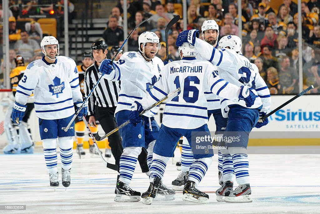 The Toronto Maple Leafs celebrate a goal against the Boston Bruins in Game Five of the Eastern Conference Quarterfinals during the 2013 NHL Stanley Cup Playoffs at TD Garden on May 10, 2013 in Boston, Massachusetts.