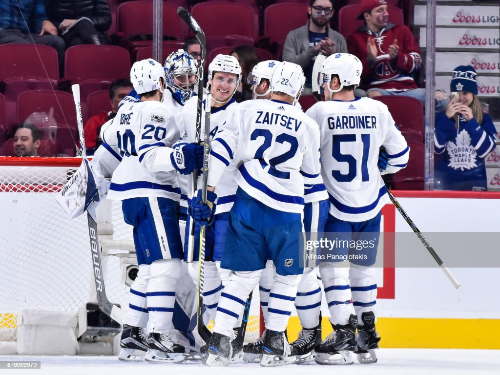 The Toronto Maple Leafs celebrate after a victory against the Montreal Canadiens during the NHL game at the Bell Centre on November 18, 2017 in Montreal, Quebec, Canada. The Toronto Maple Leafs defeated the Montreal Canadiens 6-0.