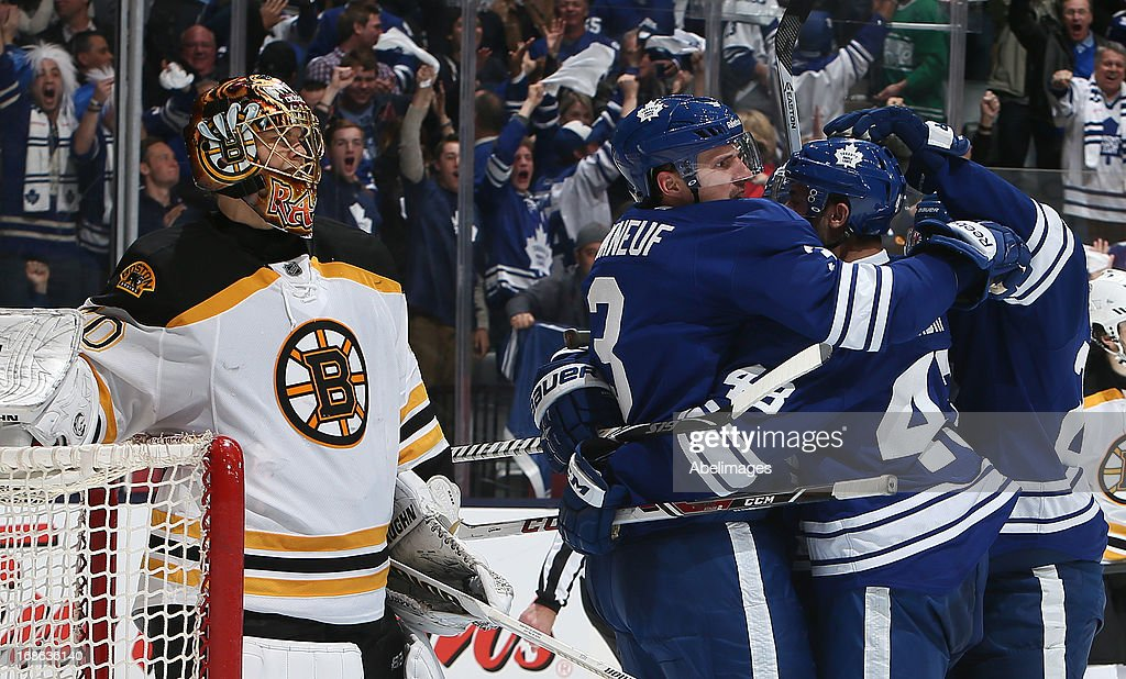The Toronto Maple Leafs celebrate <a gi-track='captionPersonalityLinkClicked' href=/galleries/search?phrase=Dion+Phaneuf&family=editorial&specificpeople=545455 ng-click='$event.stopPropagation()'>Dion Phaneuf</a> goal in front of <a gi-track='captionPersonalityLinkClicked' href=/galleries/search?phrase=Tuukka+Rask&family=editorial&specificpeople=716723 ng-click='$event.stopPropagation()'>Tuukka Rask</a> #40 the Boston Bruins in Game Six of the Eastern Conference Quarterfinals during the 2013 NHL Stanley Cup Playoffs May 12, 2013 at the Air Canada Centre in Toronto, Ontario, Canada.