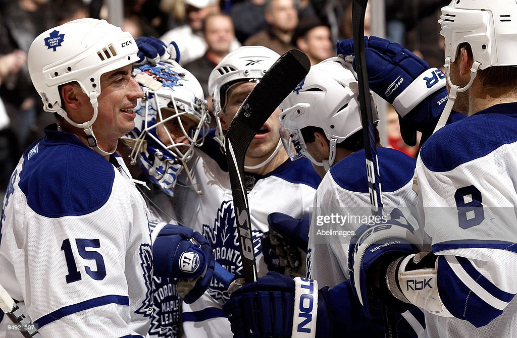 The Toronto Maple Leafs celebrate shutout win during game action against the Boston Bruins December 19, 2009 at the Air Canada Centre in Toronto, Ontario, Canada.