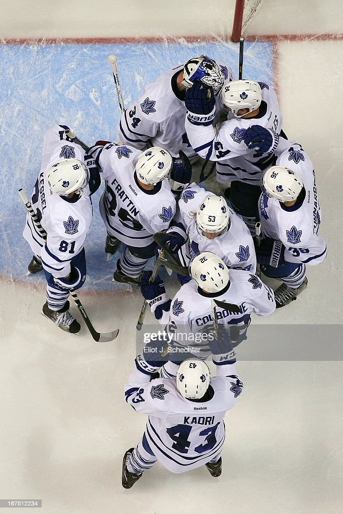 The Toronto Maple Leafs celebrate their 4-0 win against the Florida Panthers at the BB&T Center on April 25, 2013 in Sunrise, Florida.