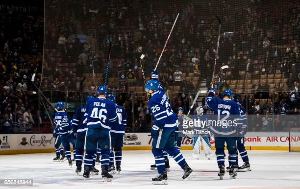 The Toronto Maple Leafs celebrate their win against the Boston Bruins during the third period at the Air Canada Centre on March 20 2017 in Toronto...