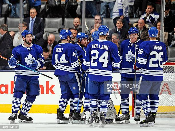 The Toronto Maple Leafs celebrate their win over the Tampa Bay Lightning during game action on November 20 2014 at Air Canada Centre in Toronto...
