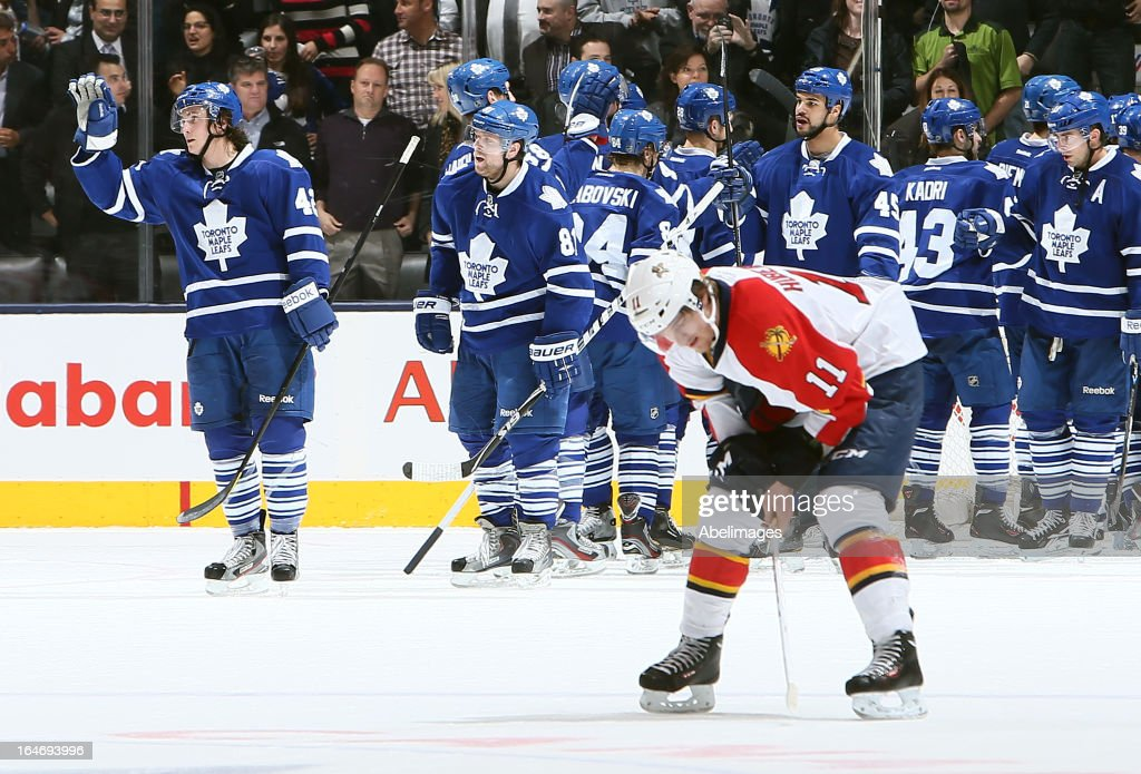The Toronto Maple Leafs celebrate win over the Florida Panthers during NHL action at the Air Canada Centre March 26, 2013 in Toronto, Ontario, Canada.