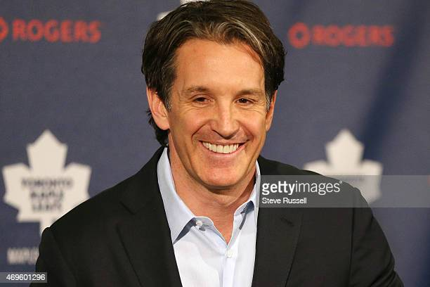 TORONTO ON APRIL 13 The Toronto Maple Leafs hold their post season media availability and team President Brendan Shanahan holds a press conference to...