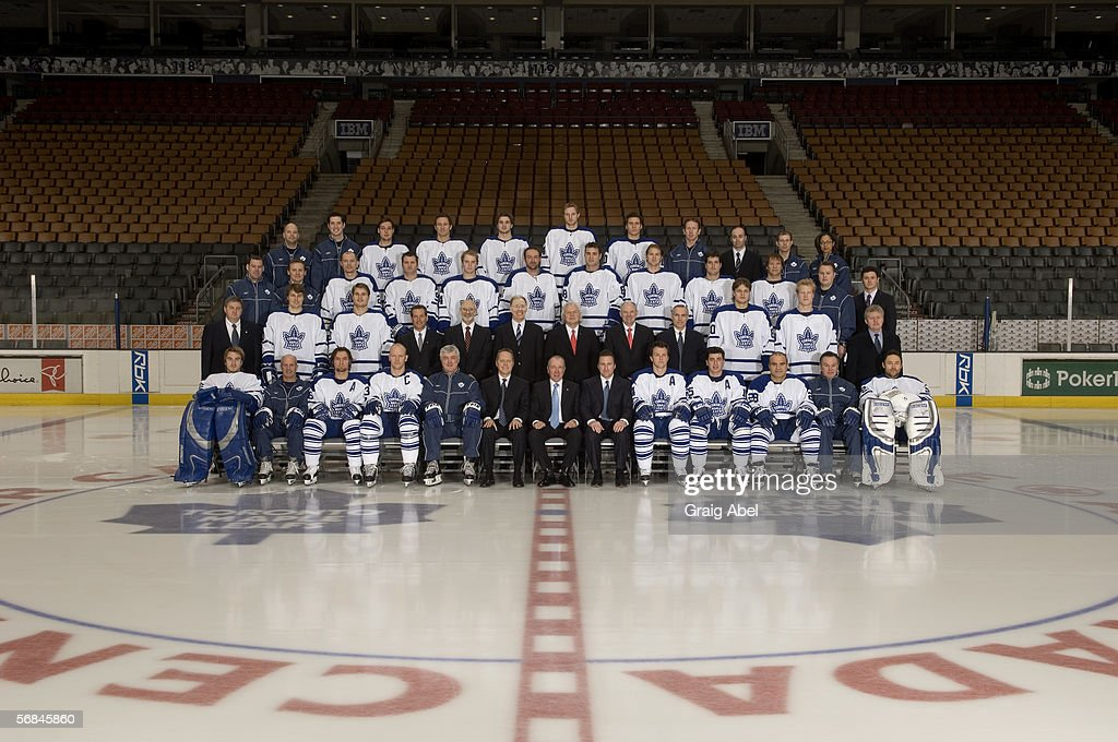 The Toronto Maple Leafs pose for a team photo at Air Canada Centre on January 12, 2006 in Toronto, Ontario, Canada. (Photo by Graig Abel/Getty Images) Front row: Mikael Tellqvist, Keith Acton (Assistant Coach), Darcy Tucker, Mats Sundin, Pat Quinn (Head Coach), Richard Peddie (President and CEO, MLSE), Larry Tenenbaum (Chairman of the Board), John Ferguson (Vice-President and General Manager), Bryan McCabe, Tomas Kaberle, Tie Domi, Rick Ley (Assistant Coach), Ed Belfour. Second row: Mike Penney (Assistant GM, Director of Player Personnel), Aki Berg, Alexei Ponikarovsky, Dale Lastman (Director), Robert Bertram (Director), James Leech (Director), Ivan Fecan (Director), Robert MacLellan (Director), Dean Metcalf (Director), Nik Antropov, Wade Belak, Paul Dennis (Player Development Coach). Third row: Stephen McKichan (Goaltending Coach), Kevin Wagner (Head Athletic Therapist), Alexander Khavanov, Jeff O'Neill, Matt Stajan, Jason Allison, Eric Lindros, Chad Kilger, Ken Klee, Clarke Wilm, Brian Papineau (Equipment Manager), Chris Dennis (Video Analyst). Fourth row: Scott McKay (Assistant Equipment Manager), Bobby Hastings (Assistant Equipment Manager), Kyle Wellwood, Mariusz Czerkawski, Carlo Colaiacovo, Staffan Kronwell, Alex Steen, Matt Nichol (Strength and Conditioning Coordinator), Reid Mitchell (Manager of Hockey Administration and Scouting Coordinator), Chris Davie (Athletic Therapist), Donna Glyn-Williams (Massage Therapist).