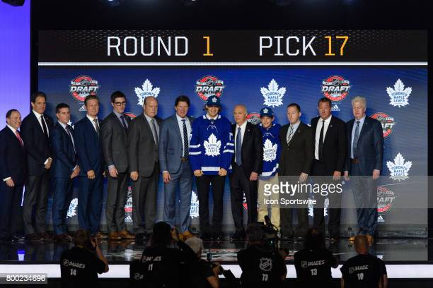 The Toronto Maple Leafs select defenseman Timothy Liljegren with the 17th pick in the first round of the 2017 NHL Draft on June 23 at the United...