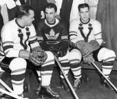 The Toronto Maple Leafs' socalled 'Kidline' of Canadian professional ice hockey players Charlie Conacher Joe Primeau and Harvey 'Busher' Jackson sit...