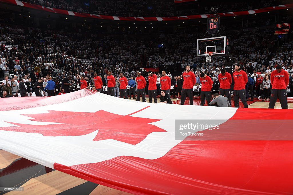 The Toronto Raptors are seen before the game against the Miami Heat in Game Two of the Eastern Conference Semifinals on May 5, 2016 at the Air Canada Centre in Toronto, Ontario, Canada.