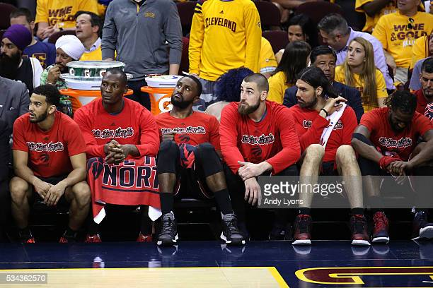 The Toronto Raptors bench looks on late in the game against the Cleveland Cavaliers in game five of the Eastern Conference Finals during the 2016 NBA...
