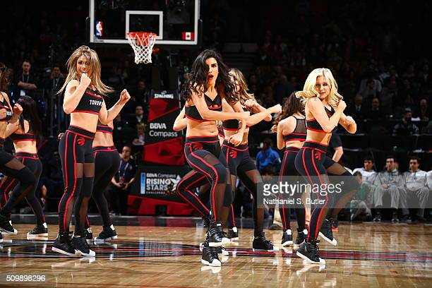 The Toronto Raptors dance Team entertains the crowd during the game between the USA Team and the World Team during the BBVA Compass Rising Stars...