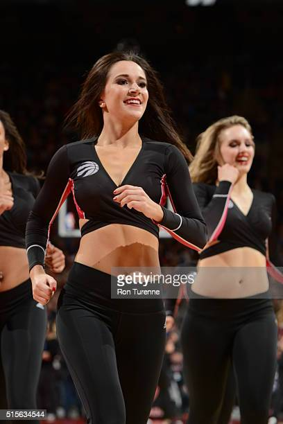 The Toronto Raptors dance team is seen against the Chicago Bulls on March 14 2016 at the Air Canada Centre in Toronto Ontario Canada NOTE TO USER...