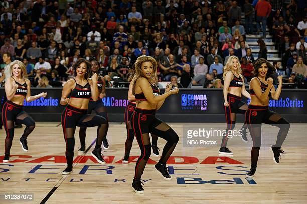 The Toronto Raptors dance team performs against the Denver Nuggets on October 3 2016 at the Scotiabank Saddledome in Calagary Alberta Canada NOTE TO...