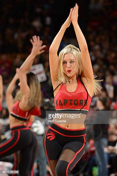 The Toronto Raptors dance team performs against the Sacramento Kings on November 6 2016 at the Air Canada Centre in Toronto Ontario Canada NOTE TO...