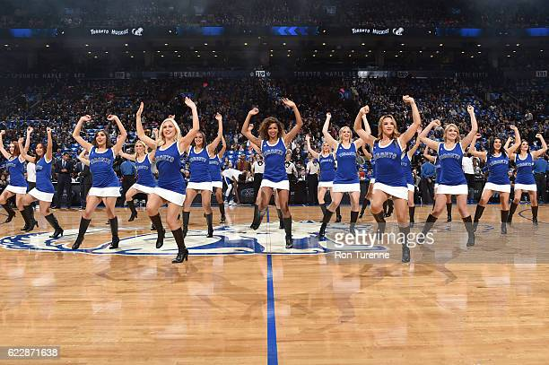 The Toronto Raptors Dance Team performs before a game against the New York Knicks on November 12 2016 at the Air Canada Centre in Toronto Ontario...