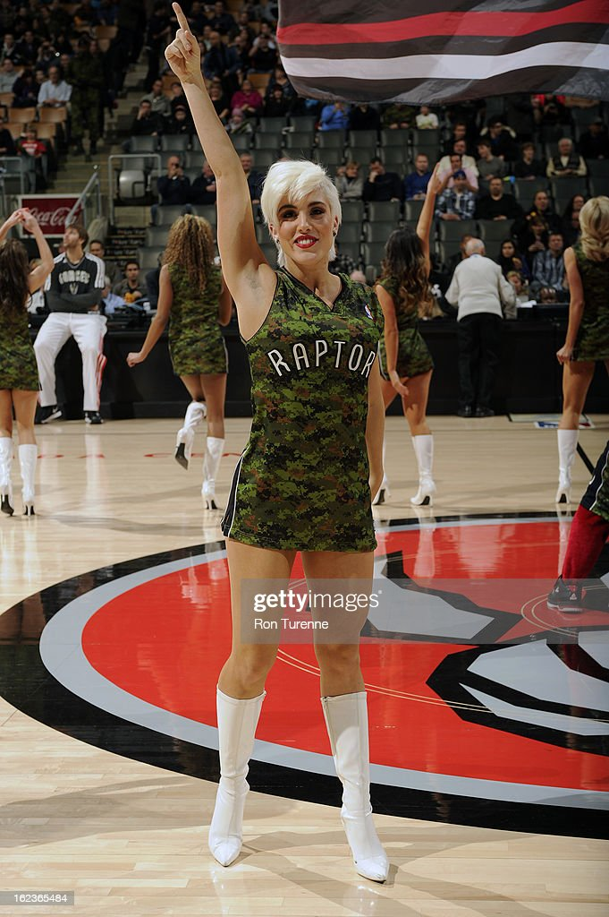 The Toronto Raptors dance team performs before the game against the Cleveland Cavaliers on January 26, 2013 at the Air Canada Centre in Toronto, Ontario, Canada.