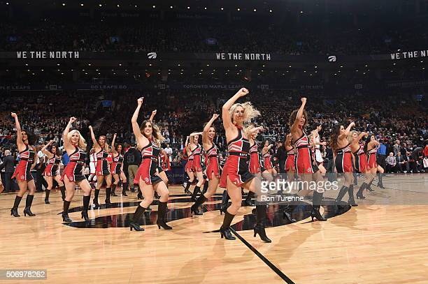 The Toronto Raptors dance team performs before the game against the Washington Wizards on January 26 2016 at the Air Canada Centre in Toronto Ontario...