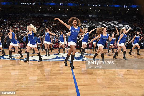 The Toronto Raptors dance team performs before the game against the Minnesota Timberwolves on December 8 2016 at the Air Canada Centre in Toronto...