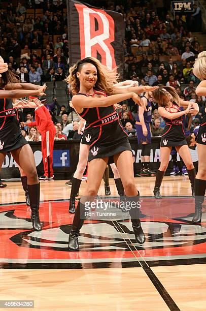 The Toronto Raptors dance team performs during a game against the Phoenix Suns on November 24 2014 at the Air Canada Centre in Toronto Ontario Canada...